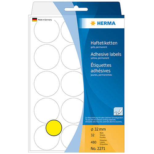 Office Pack Multi-purpose Labels Round 32mm Yellow (2271)