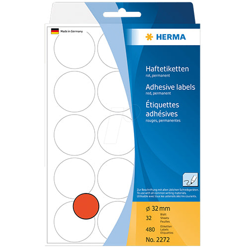 Office Pack Multi-purpose Labels Round 32mm Red (2272)