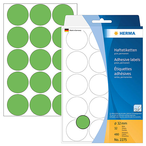 Office Pack Multi-purpose Labels Round 32mm Green (2275)
