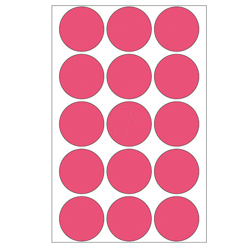 Office Pack Multi-purpose Labels Round 32mm Luminous Red (2276)
