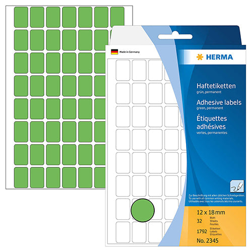 Office Pack Multi-purpose Labels 12 x 8mm Green (2345)