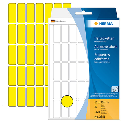 Office Pack Multi-purpose Labels 12 x 30mm Yellow (2351)