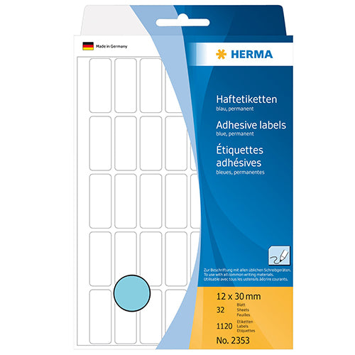 Office Pack Multi-purpose Labels 12 x 30mm Blue (2353)
