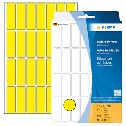 Office Pack Multi-purpose Labels 13 x 40mm Yellow (2361)