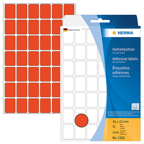 Office Pack Multi-purpose Labels 16 x 22mm Red (2382)