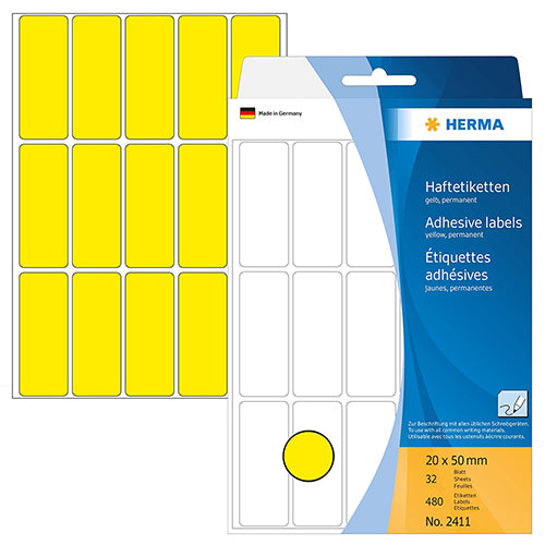 Office Pack Multi-purpose Labels 20 x 50mm Yellow (2411)