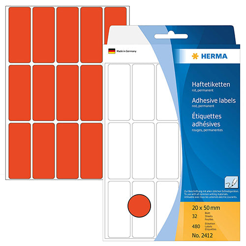Office Pack Multi-purpose Labels 20 x 50mm Red (2412)