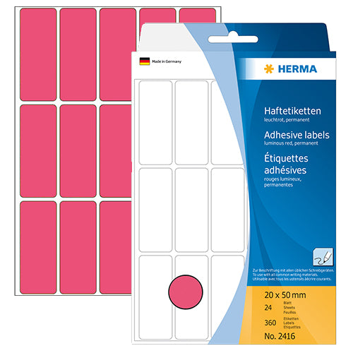 Office Pack Multi-purpose Labels 20 x 50mm Luminous Red (2416)