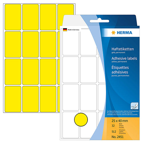Office Pack Multi-purpose Labels 25 x 40mm Yellow (2451)