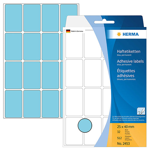 Office Pack Multi-purpose Labels 25 x 40mm Blue (2453)