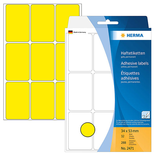 Office Pack Multi-purpose Labels 34 x 53mm Yellow (2471)
