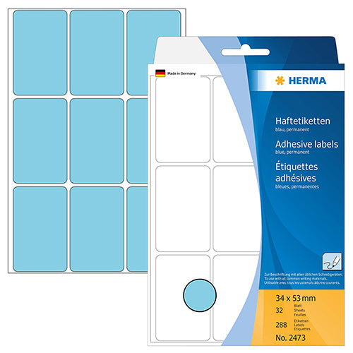 Office Pack Multi-purpose Labels 34 x 53mm Blue (2473)