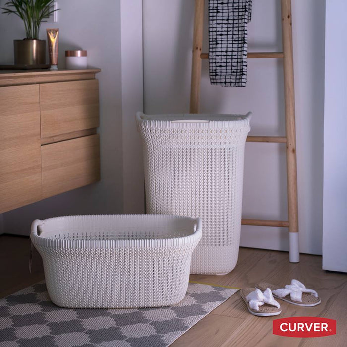 Knit Laundry Hamper 57L with lid