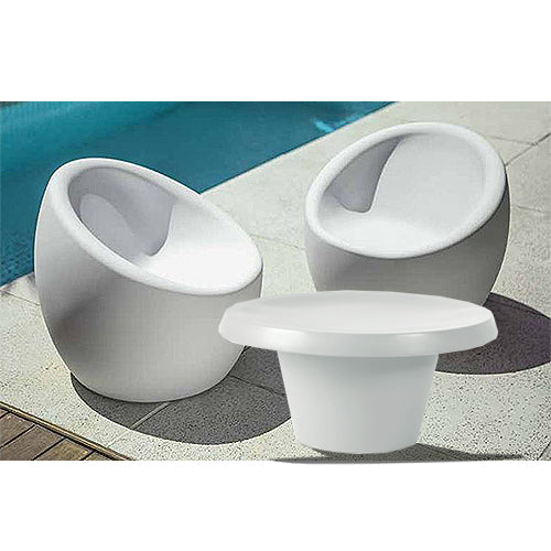 2 OCA Chair (White) + 1 Cona Table (White) Set