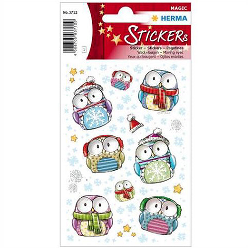 Stickers Winter Owls, Moving Eyes (3712)