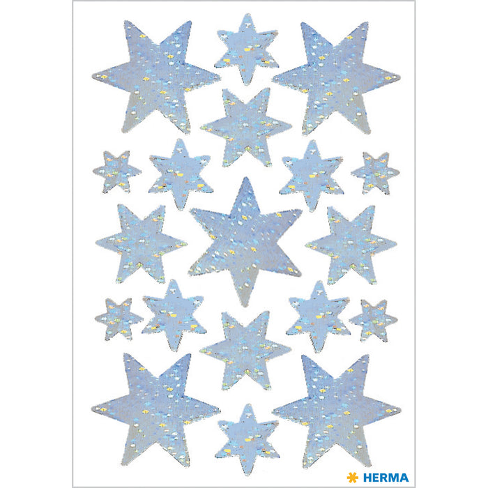 Stickers stars 6-pointed, Silver, holographic film (3901)