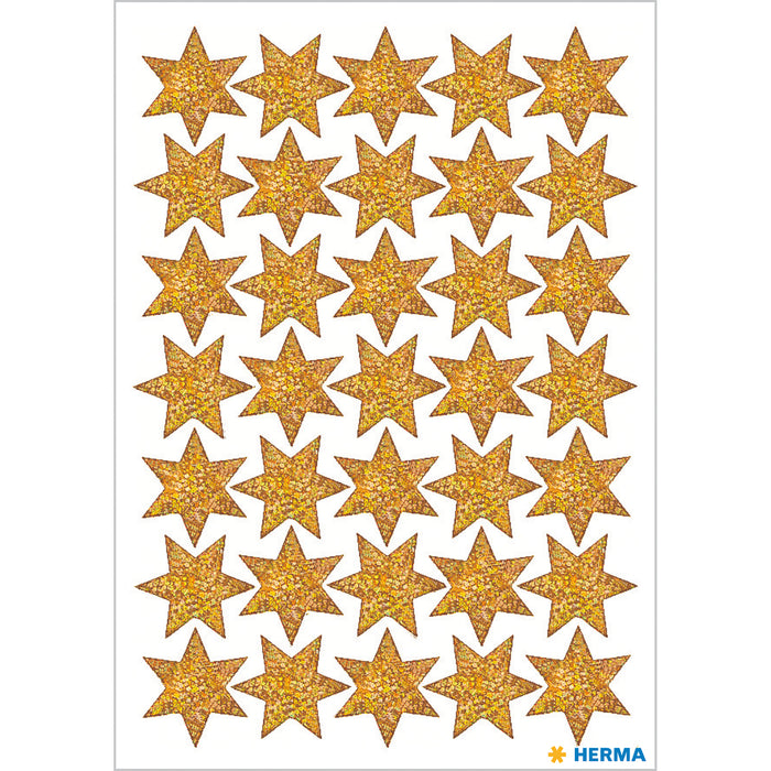 Stickers stars 6-pointed, Gold, glittery Ø 16 mm (3911)