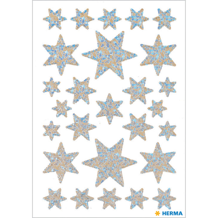 Stickers stars 6-pointed, Silver pearlized film (3917)