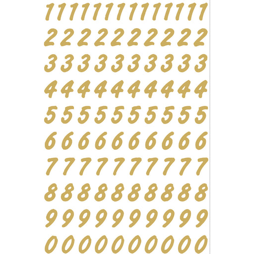 Numbers 8 mm 0-9 weatherproof Transparent foil Gold (4151)