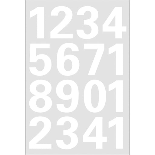 Numbers 25 mm 0-9 weatherproof film White (4170)