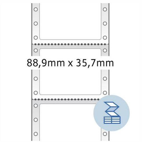 Continuous computer labels, 88,9 x 35,7 mm, 1 row, white, permanent adhesion (8211)