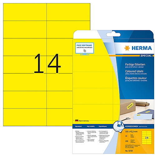 Coloured Labels A4, 105 x 42,3 mm, Yellow, Removable (5058)
