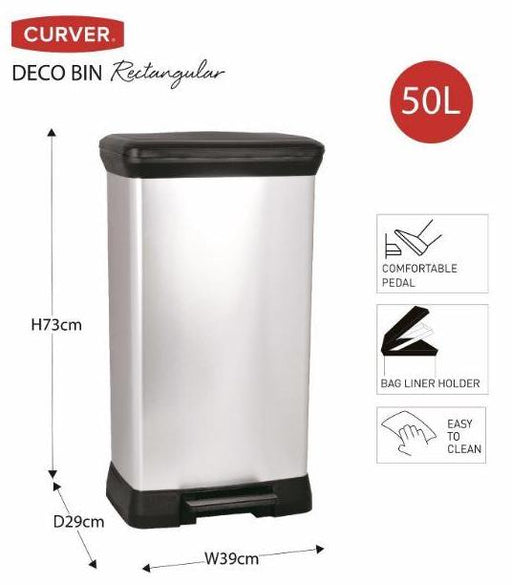 Curver Deco Pedal Bin Rectangle 50L
