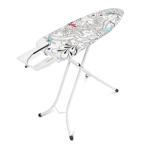 Size C Ironing Board 124 x 45cm w/Solid Steam Iron Rest Ivory - Dragonfly