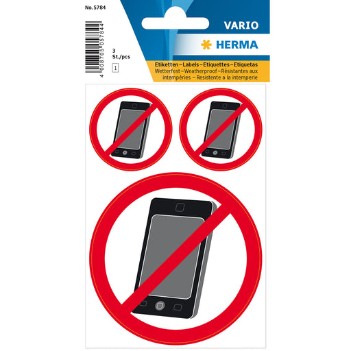 Information label 'no mobile' weatherproof (5784)