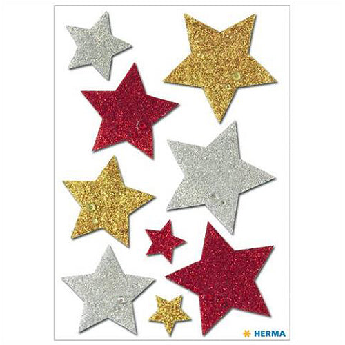 Stickers Multicoloured Stars, Glittery (6528)
