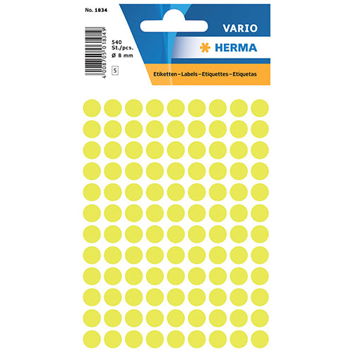 Multi-purpose Labels Round 8mm Luminous Yellow (1834)