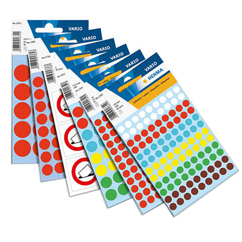 Multi-purpose Labels Round 8mm Assorted Colours (1831)