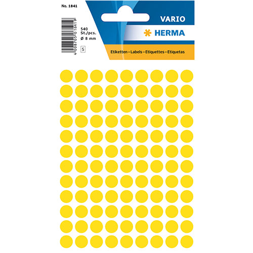 Multi-purpose Labels Round 8mm Yellow (1841)