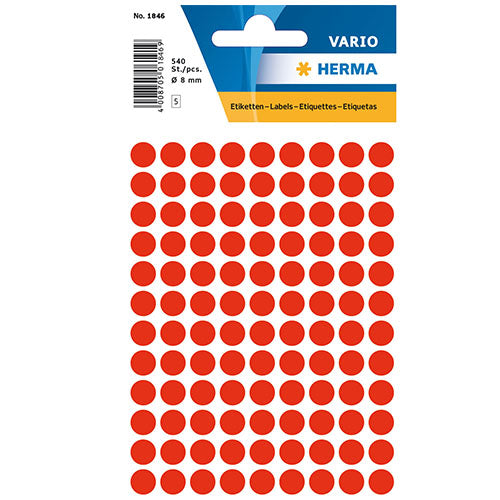 Multi-purpose Labels Round 8mm Luminous Red (1846)