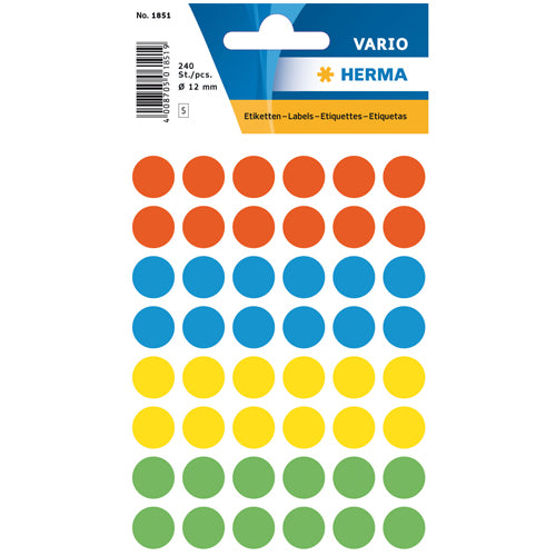 Multi-purpose Labels Round 12mm Assorted Colours (1851)