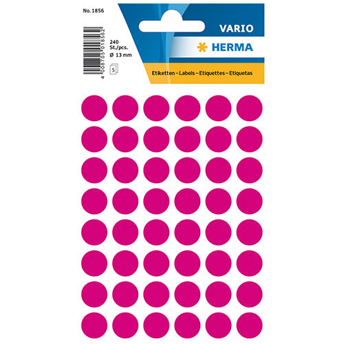 Multi-purpose Labels Round 13mm Pink (1856)