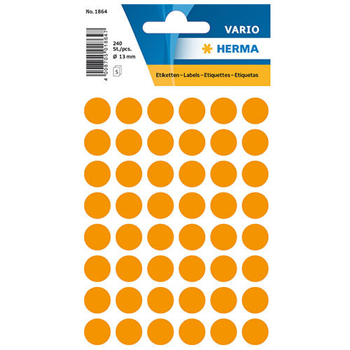 Multi-purpose Labels Round 13mm Luminous Orange (1864)