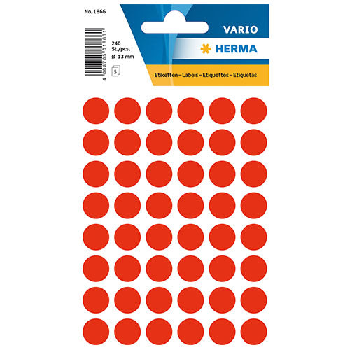 Multi-purpose Labels Round 13mm Red (1866)
