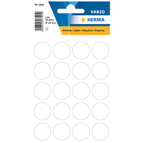 Multi-purpose Labels Round 19 mm White (1870)