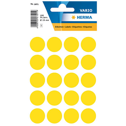 Multi-purpose Labels Round 19 mm Yellow (1871)