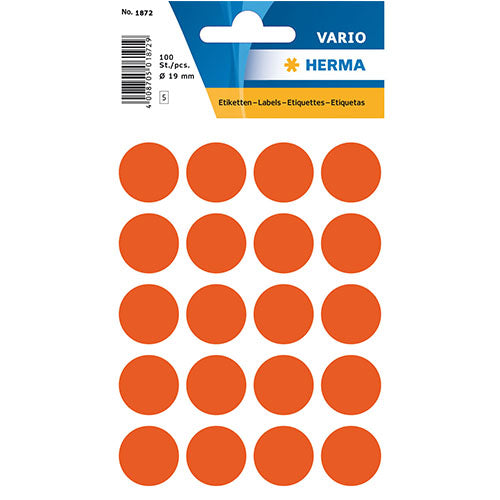 Multi-purpose Labels Round 19 mm Red (1872)
