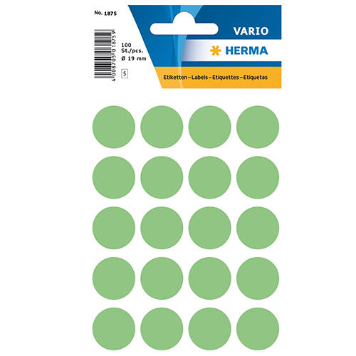 Multi-purpose Labels Round 19 mm Green (1875)