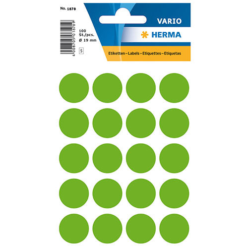 Multi-purpose Labels Round 19 mm Luminous Green (1878)