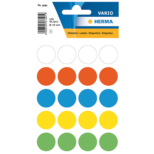 Multi-purpose Labels Round 19 mm Assorted Colour (1881)