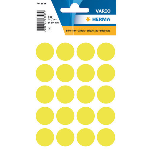 Multi-purpose Labels Round 19 mm Luminous Yellow (1884)