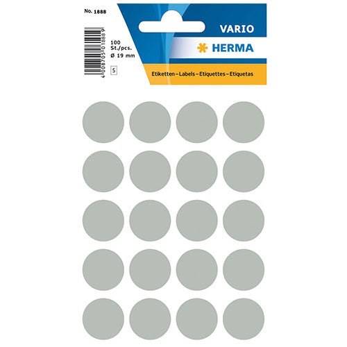 Multi-purpose Labels Round 19 mm Grey (1888)