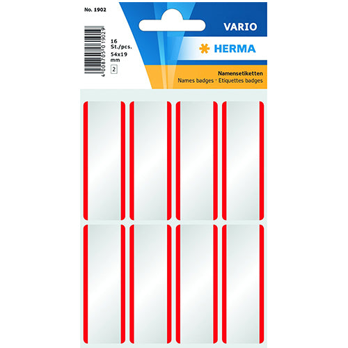 Name Labels 54x19 mm White/Red Stripes Removable Artificial Silk (1902)