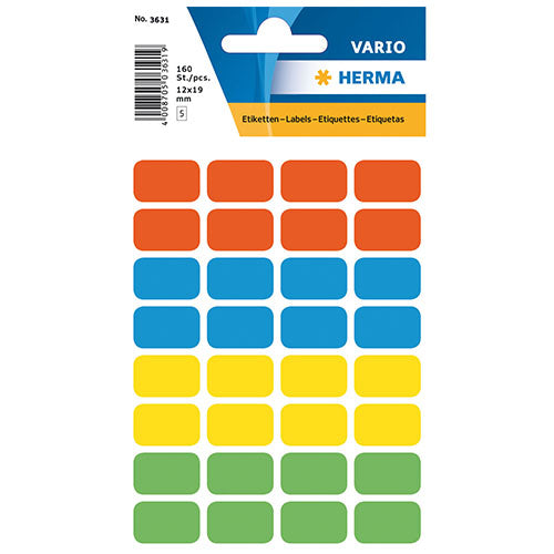 Multi-purpose Labels 12 x 19mm Assorted Colours (3631)