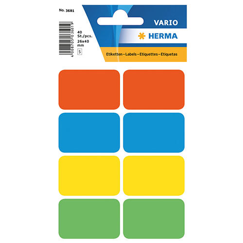 Multi-purpose Labels 26 x 40mm Assorted Colours (3681)