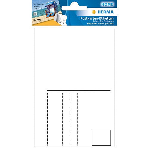 Post card labels 95x145 mm white, self-adhesive (7758)
